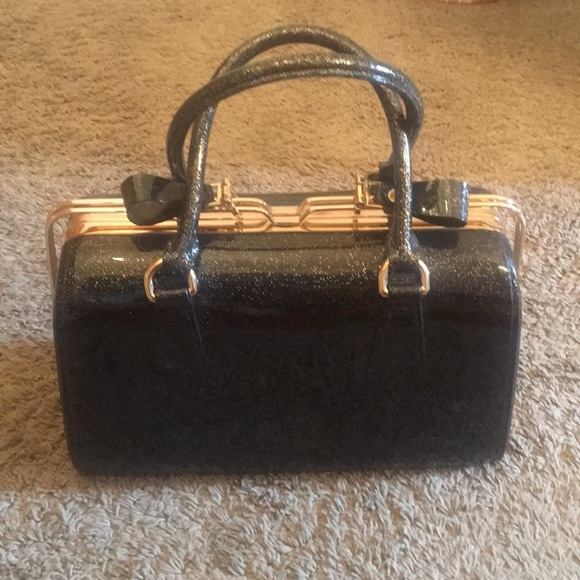 Handbags - Black and Gold Glitter Jelly Bag